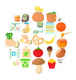 shop with vegetables icons set cartoon style vector image vector image