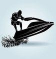Silhouette of a rider on a water scooter vector image