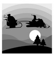 Silhouette santa claus riding snowmobile