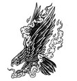 smoky eagle - black and white design vector image vector image