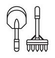 spade shovel and garden rake line icon vector image