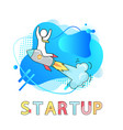 startup business development and rocket launch vector image vector image