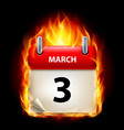 third march in calendar burning icon on black vector image vector image