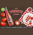tomato ketchup ad realistic ketchup sauce bottle vector image