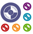 vinyl record icons set vector image vector image