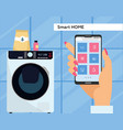 washing machine controlled via smartphone with wi vector image