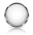 white glass 3d button with metal frame with vector image vector image
