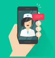 doctor online on mobile phone vector image