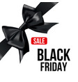 black bow with ribbon and black friday sale text vector image