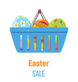 shopping basket with easter eggs vector image