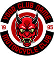angry japan devil motorcycle club badge vector image