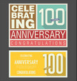 anniversary retro background 100 years vector image vector image