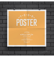 Blank paper poster on brick wall background vector image vector image