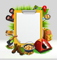 camping realistic note pad composition vector image vector image