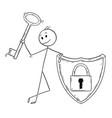 cartoon man or businessman with locked shield vector image