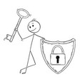 cartoon of man or businessman with locked shield vector image vector image