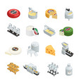 cheese production isometric icons collection vector image vector image