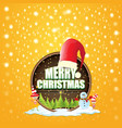 christmas label with red santa hat tree vector image
