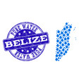 collage map of belize with water tears and grunge vector image