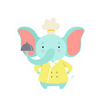 cute elephant in chef uniform holding silver vector image