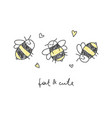 cute print of bees vector image vector image