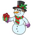 cute snowman with gift vector image