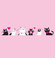 festive greeting card with funny cats in love vector image vector image