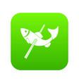 fishing icon green vector image vector image