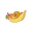 fresh fruits - banana apple and orange sketch vector image