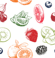 Fruits pattern including seamless vector image vector image