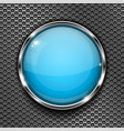 glass blue button with chrome frame on metal vector image vector image