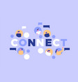 happy people group connect on social media vector image vector image