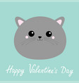 happy valentines day gray cat round face head vector image vector image