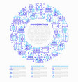 immigration concept in circle with thin line icons vector image