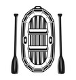 inflatable boat for rafting paddles object vector image