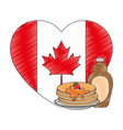 pancakes with maple syrup and heart canadian flag vector image vector image