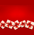 Red holiday background with gift boxes and red bow vector image