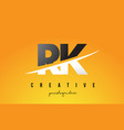 rk r k letter modern logo design with yellow vector image vector image
