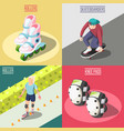 roller and skateboarders 2x2 design concept vector image vector image