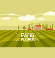 rural cute landscape with farm cartoon style vector image vector image