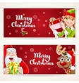 Santa Claus and Elf with gift on two Christmas