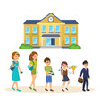school building students going to classes vector image vector image