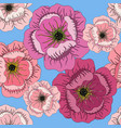 seamless summer pattern with roses on blue vector image vector image