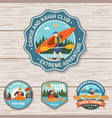 set canoe and kayak club badges concept vector image vector image