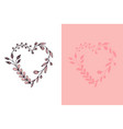 set of hand drawn wreath hearts with stylized vector image vector image