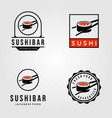 set sushi japanese food vintage logo vector image vector image