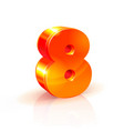 shiny orange red 3d number 8 isolated on white vector image vector image