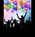 silhouettes of party people on a balloons and vector image vector image