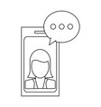 smartphone business chat black and white vector image vector image