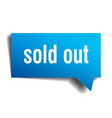 sold out blue 3d speech bubble vector image vector image